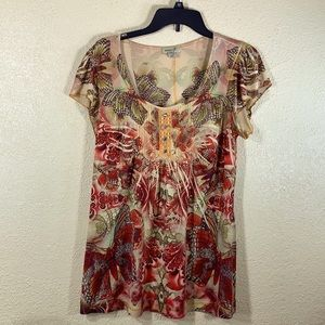 One World Top Blouse Red Yellow Butterflies L